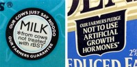 No Artificial Growth Hormones, Milk From Cows Not Treated with rBST Labels