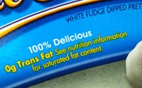 Zero Grams Trans Fats Label