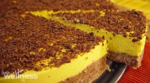 Raw Mango Coconut Cream Tart With Hazelnut Crust Sliced